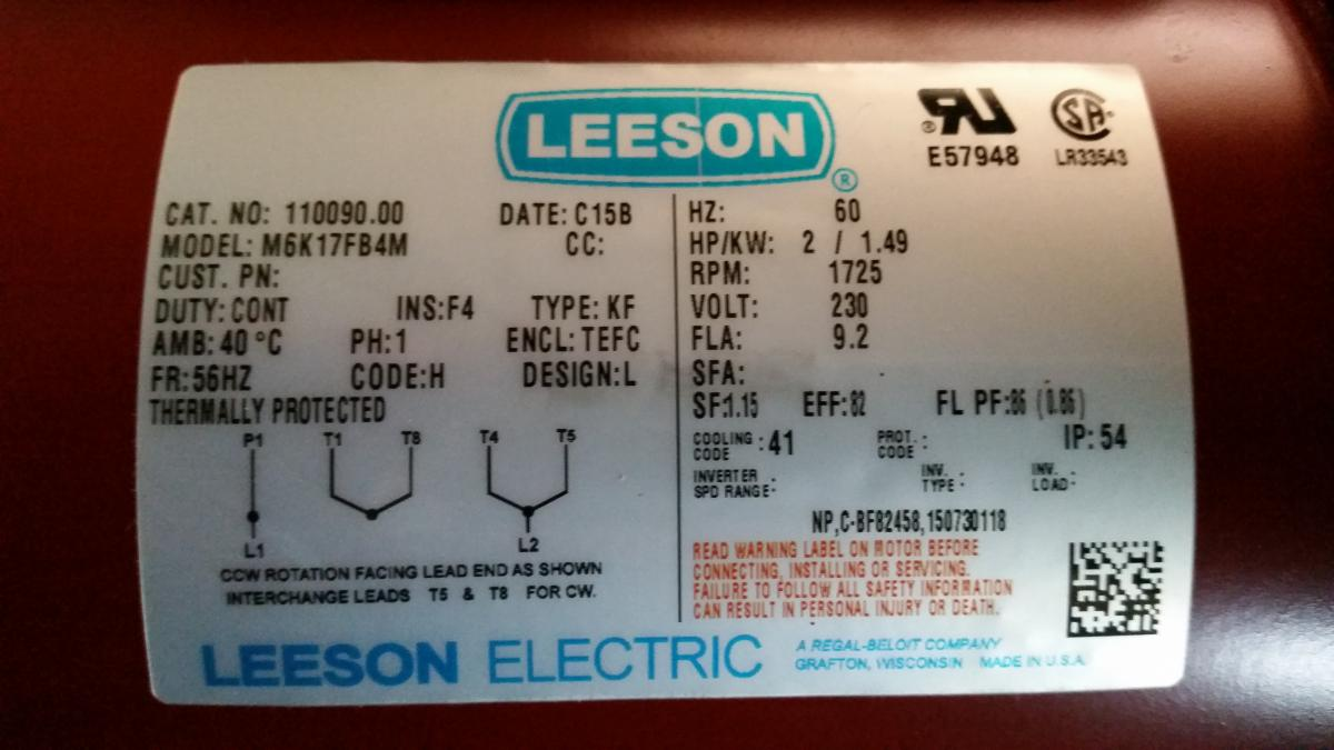 Wiring a 2hp electric motor tools and tool making for Leeson motor wiring diagram