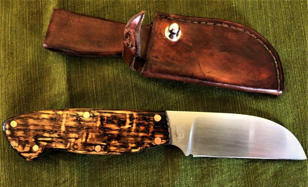 final curly oak working knife with sheath.JPG